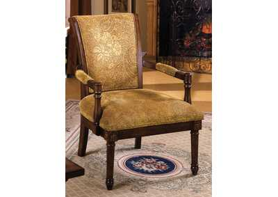 Stockton Rustic Fabric Pattern Accent Chair w/Hand-Carved Wood