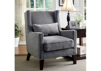 Image for Tomar Gray Wingback Accent Chair w/Nailhead Trim & Matching Pillow