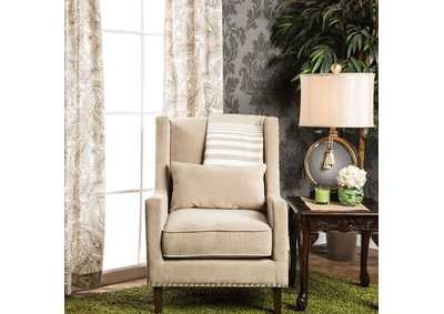 Image for Tomar Ivory Wingback Accent Chair w/Nailhead Trim & Matching Pillow