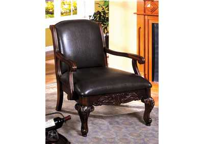 Image for Sheffield Espresso Leatherette Seat Accent Chair w/Dark Cherry Hand-Carved Wood