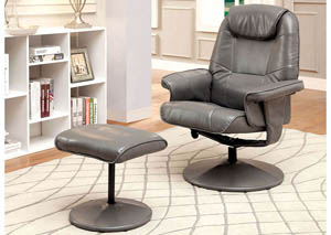 Stanton Gray Leatherette Swivel Recliner w/Ottoman