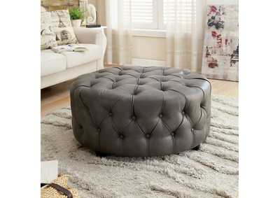 Image for Latoya Gray Bonded Leather Round Ottoman