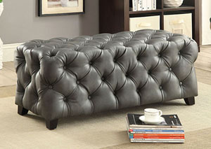 Emelda Gray Bonded Leather Rectagular Ottoman