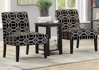 Fortuna Black/Gray Pattern Accent Table & Chair Set