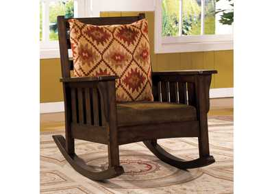 Image for Morrisville Dark Oak Mission Style Rocking Chair w/Removable Cushions