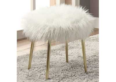 Image for Caoimhe White/Gold Faux Fur Ottoman