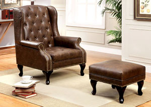 Vaughn Rustic Brown Leatherette Accent Chair