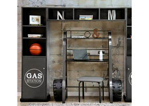 Royal Racer Gun Metal Storage Shelf,Furniture of America
