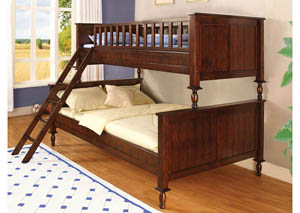 Radcliff Brown Cherry Twin/Full Bunk Bed