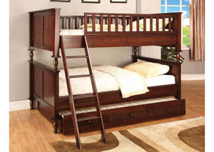 Radcliff Brown Cherry Twin/Twin Bunk Bed w/Trundle