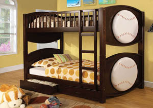 Olympic ll Baseball-Theme Twin Bunk Bed
