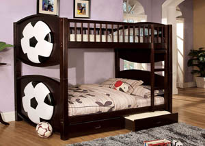 Olympic ll Soccer-Theme Twin Bunk Bed w/2 Drawers