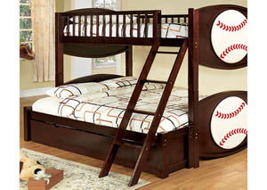 Olympic I Dark Walnut Sport Twin/Full Bunk Bed
