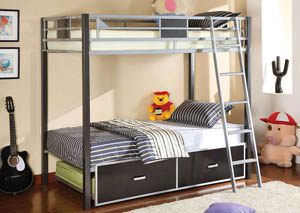 Cletis Twin Metal Bunk Bed w/Trundle & Drawers