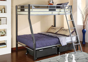 Cletis Twin/Full Metal Bunk Bed w/Trundle & Drawers