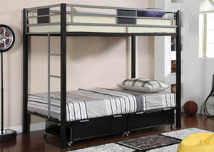 Clifton Twin Metal Bunk Bed w/Drawers & Ladder