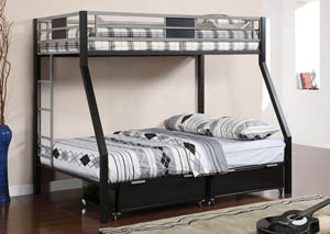 Clifton Twin/Full Metal Bunk Bed w/Drawers & Ladder
