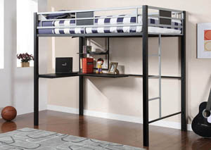 Clifton Full Metal Loft Bed w/Workstation