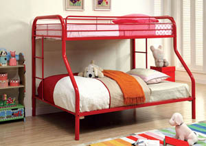 Rainbow Red Twin/Full Metal Bunk Bed