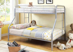 Rainbow Silver Twin/Full Metal Bunk Bed