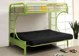 Rainbow Green Twin Metal Bed w/Green Futon Base