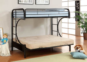 Rainbow Black Twin Metal Bed w/Black Futon Base