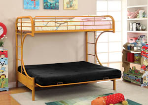 Rainbow Orange Twin Metal Bed w/Orange Futon Base