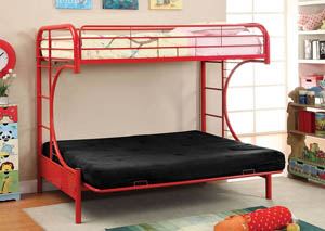Rainbow Red Twin Metal Bed w/Red Futon Base