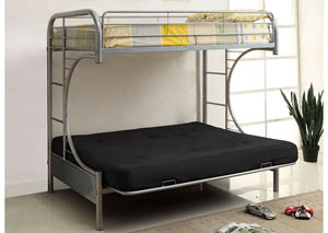 Rainbow Silver Twin Metal Bed w/Silver Futon Base