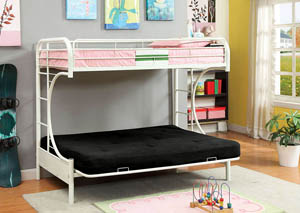 Rainbow White Twin Metal Bed w/White Futon Base