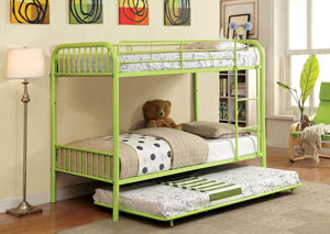 Rainbow Green Twin Metal Bunk Bed w/Trundle