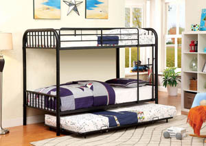 Rainbow Black Twin Metal Bunk Bed w/Trundle
