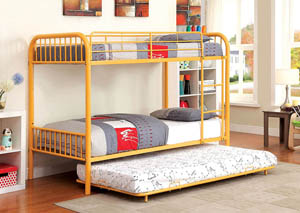 Rainbow Orange Twin Metal Bunk Bed w/Trundle