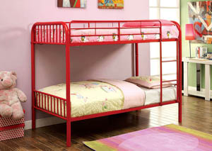 Rainbow Red Twin Metal Bunk Bed w/Trundle