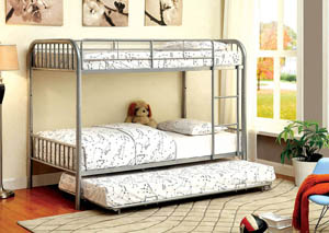 Rainbow Silver Twin Metal Bunk Bed w/Trundle