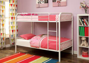 Rainbow White Twin Metal Bunk Bed w/Trundle