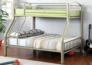Lovia Metallic Gold Twin/Full Metal Bunk Bed
