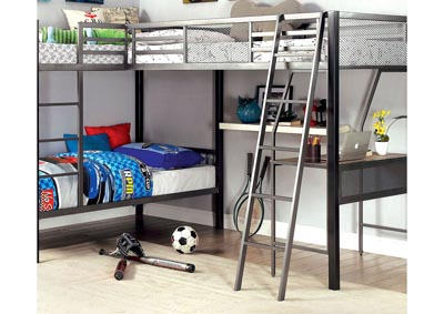 Ballarat Gray/Silver L-Shaped Triple Twin Metal Bunk Bed w/Desk