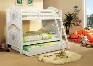 Isabella lll White Twin Bunk Bed