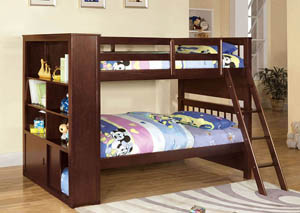 Hayden Espresso Twin Bookcase Bunk Bed