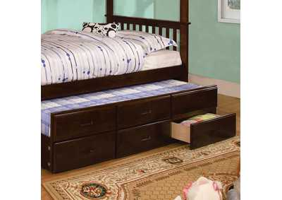 University Dark Walnut Twin Trundle w/3 Drawers