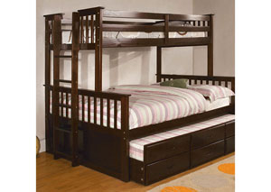 University ll Dark Walnut Twin/Full Bunk Bed w/Trundle