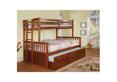 University ll Oak Twin/Full Bunk Bed w/Trundle