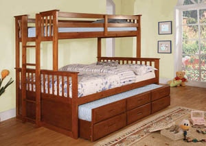 Image for University l Oak Full Bunk Bed