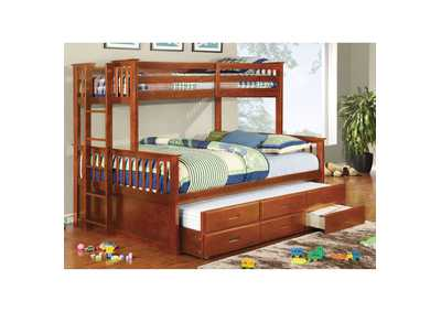 University ll Oak Twin/Queen Bunk Bed w/Ladder