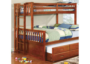 University Oak Twin XL Trundle w/3 Drawers