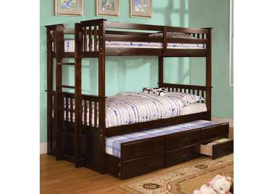 University ll Dark Walnut Twin/Twin Bunk Bed w/Trundle