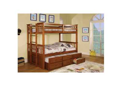 University ll Oak Twin/Twin Bunk Bed w/Trundle