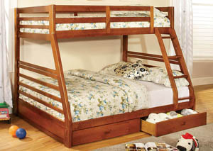 California lll Oak Twin/Full Bunk Bed w/2 Drawers