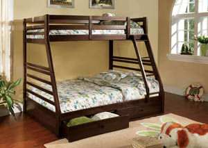 California lll Dark Walnut Twin/Full Bunk Bed w/2 Drawers